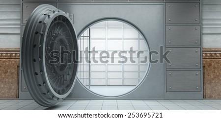 3d rendering of an opened huge empty bank vault front view - stock photo