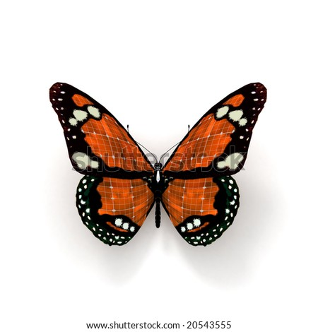 3D rendering of an orange butterfly with solar panel texture - stock photo
