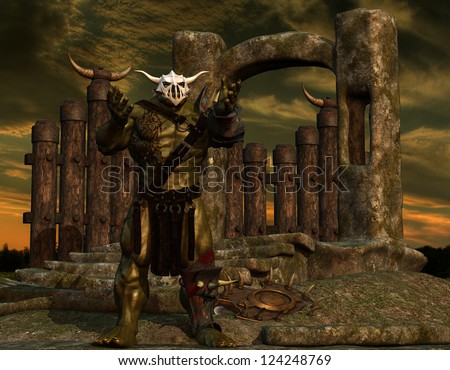 3D rendering of an orc on the border wall - stock photo
