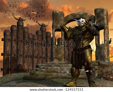 3D rendering of an orc warrior with armor - stock photo