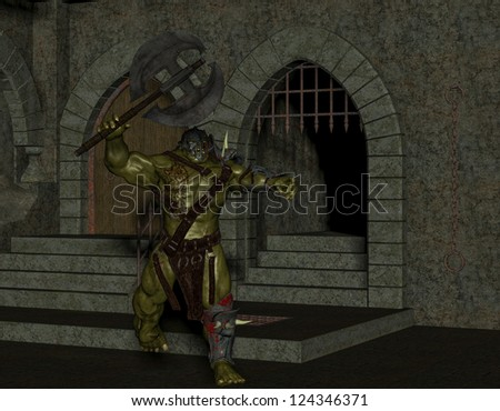 3D rendering of an orc with a battle ax in the dungeon - stock photo