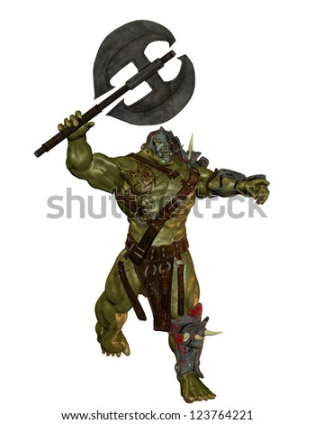 3D rendering of an orc with battle ax - stock photo