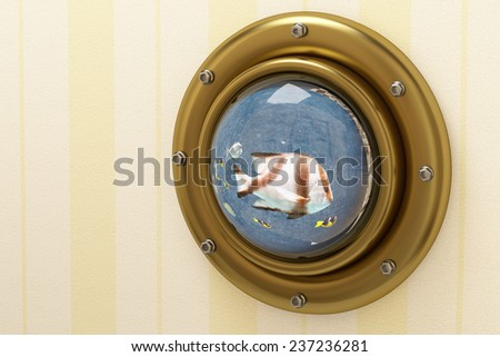 3d rendering of an underwater window - stock photo