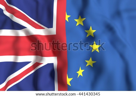 3d rendering of an United Kingdom and Europe flags. Brexit referendum.
