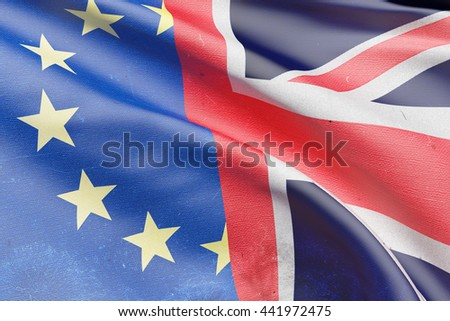 3d rendering of an United Kingdom and Europe flags. Brexit referendum. - stock photo
