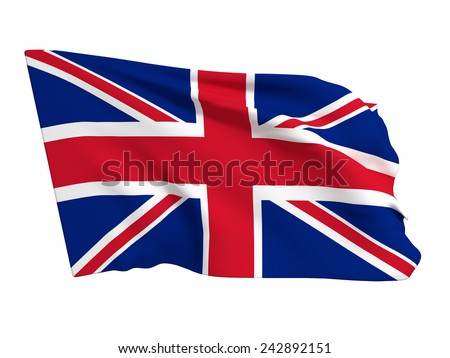 3d rendering of an united kingdom flag on a white background