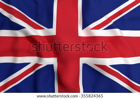 3d rendering of an united kingdom flag waving - stock photo