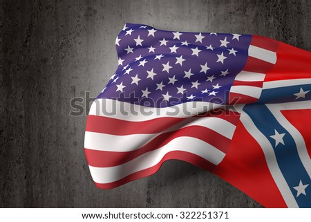 3d rendering of an united states and confederate flags on a dirty background