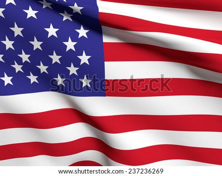 3d rendering of an united states flag on a white background