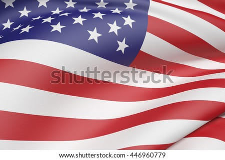 3d rendering of an United States of America flag waving