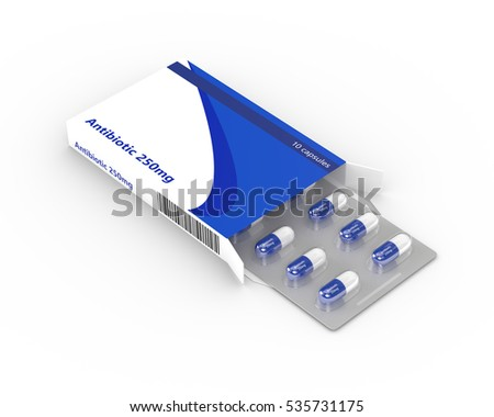 3d rendering of antibiotic blister in box isolated over white background