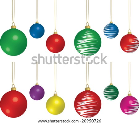 3D Rendering of assorted solid and patterned Christmas bulbs. - stock photo