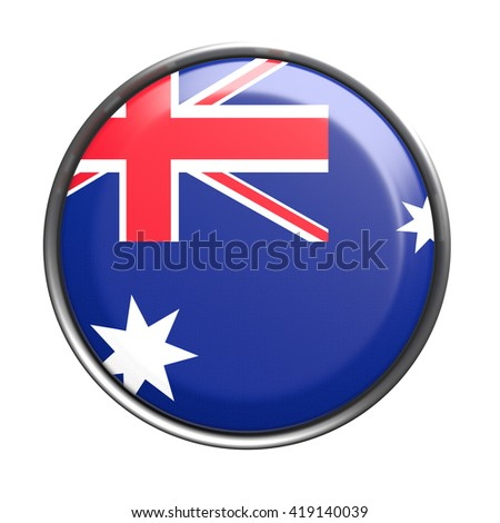 3d rendering of Australia button on white background. - stock photo