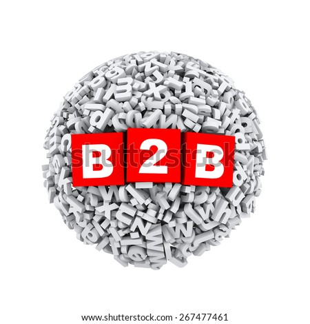 3d rendering of b2b cubes boxes inside sphere ball made up of random alphabet character letter - stock photo