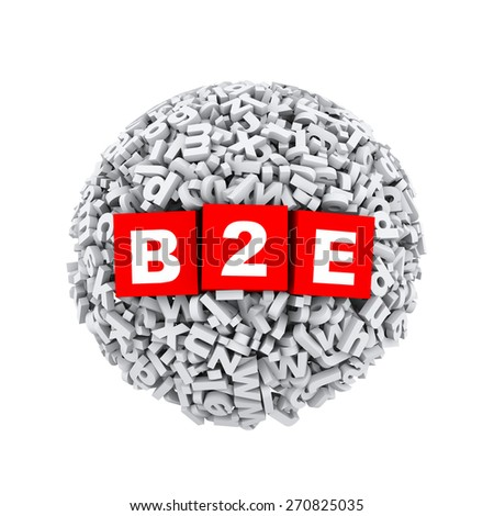 3d rendering of b2e cubes boxes inside sphere ball made up of random alphabet character letter - stock photo
