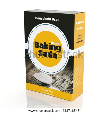3D rendering of Baking Soda paper packaging, isolated on white background.  - stock photo