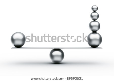 3d rendering of balls balancing - stock photo