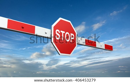 3d rendering of barrier with stop sign on sky background - stock photo