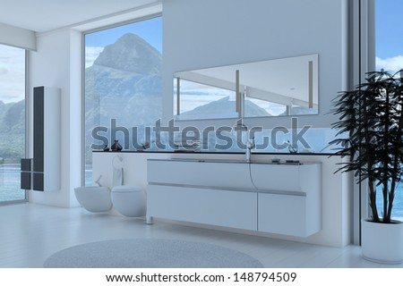 3D rendering of bathroom - stock photo