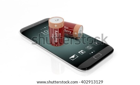 3D rendering of batteries on smartphone's screen, isolated on white background.