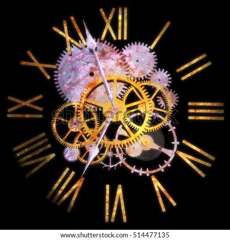 3D Rendering of bear clock with reflection of stars representing the concept of time and universe.