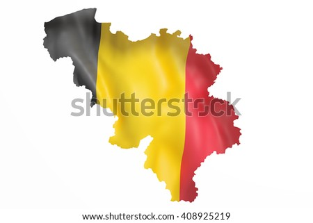 3d rendering of Belgium map and flag on white background. - stock photo