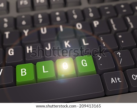 3d rendering of black computer keyboard with green blog button