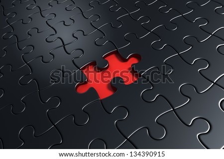 3d rendering of black puzzle pieces with one piece missing in the middle - stock photo
