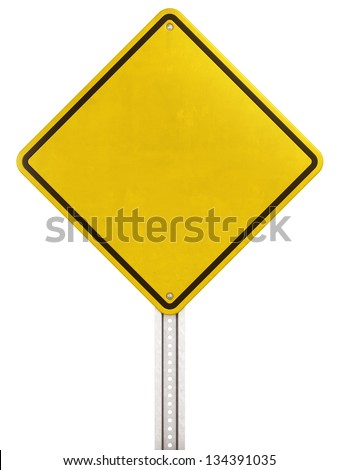 3d rendering of blank yellow traffic sign - stock photo
