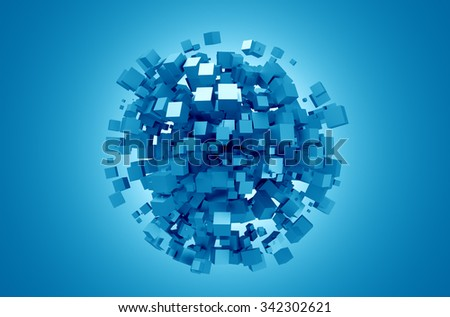 3D rendering of blue cubes. Sci-fi background. Abstract sphere in empty space. Futuristic shape. - stock photo