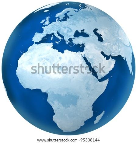 3D rendering of blue earth with detailed land illustration.  Africa and Europe view. - stock photo