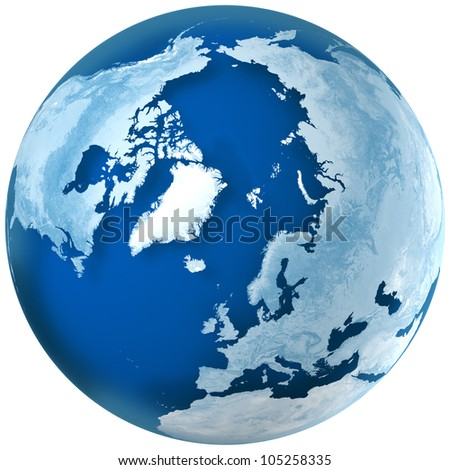 3D rendering of blue earth with detailed land illustration.  the North Pole, Europe,  Asia, and North America view. - stock photo
