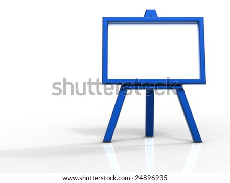 3d rendering of blue easel on white background