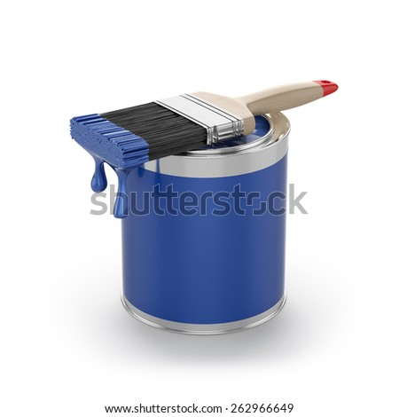 3d rendering of blue paint in the opened can with brush. Renovation concept - stock photo