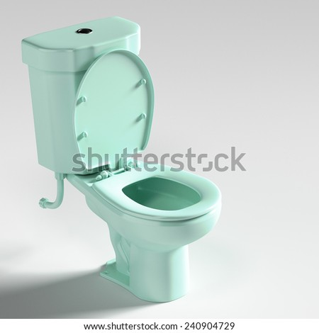 3d rendering of blue toilet. - stock photo