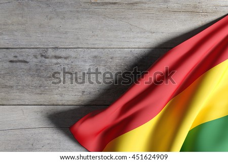 3d rendering of Bolivia flag waving on a wooden surface