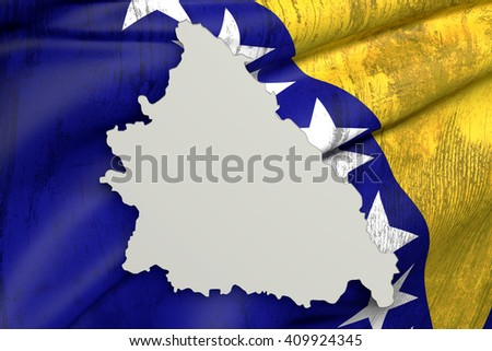 3d rendering of Bosnia Herzegovina map and old flag inside on white background. - stock photo