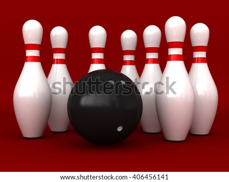 3d rendering of bowling pins and ball over red background - stock photo