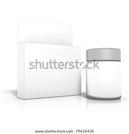 3d rendering of box with bottle, vial or creme container, isolated on white background