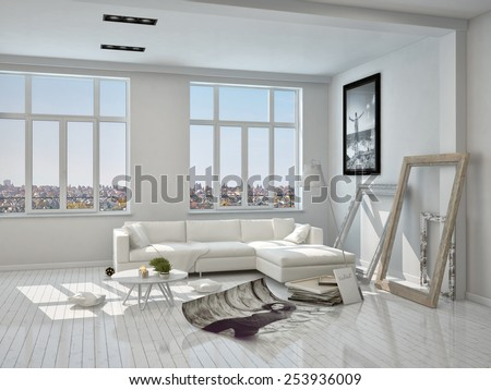 3D Rendering of Brand New Architectural White Living Room with Unfinished Decorations