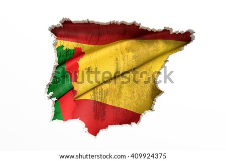 3d rendering  of bright colorful Iberian Peninsula map isolated in white wall with Spain and Portugal flags. - stock photo