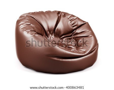 3d rendering of brown soft leather beanbag isolated on white background - stock photo