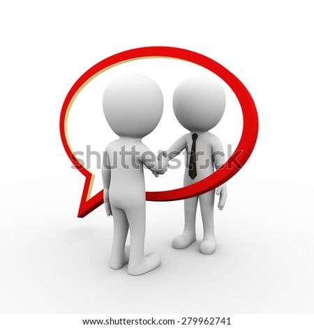 3d rendering of bubble speech and business people hand shake. 3d white person people man - stock photo