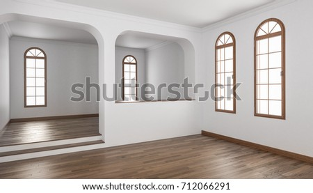 3d Rendering Of Building Interior With A Half Wall And Raised Floor