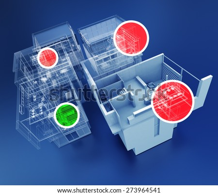 3D rendering of building monitoring concepts - stock photo