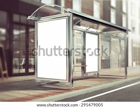 3d rendering of bus stop mockup - stock photo