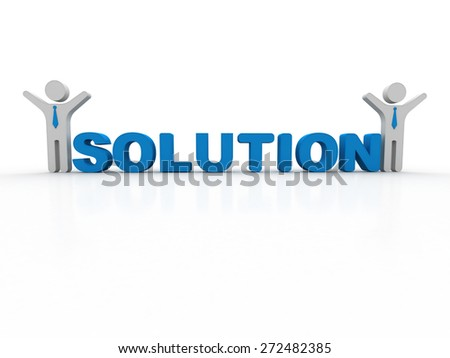 3d rendering of business person presentation of solution word