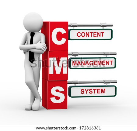 3d rendering of business person standing with cms - content management system. 3d white people man character - stock photo