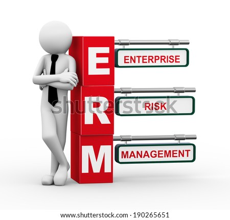3d rendering of business person standing with erm - enterprise risk management. 3d white people man character. - stock photo