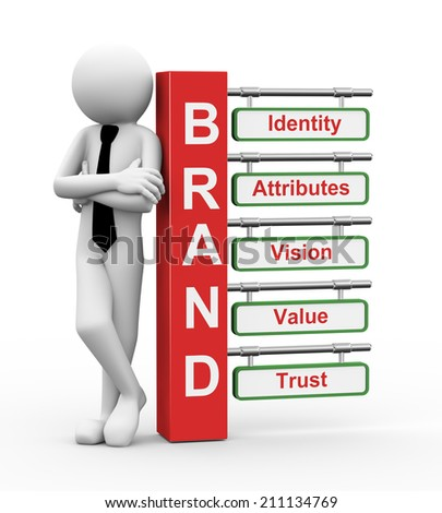 3d rendering of business person standing with of brand modern signpost. 3d white people man character. - stock photo